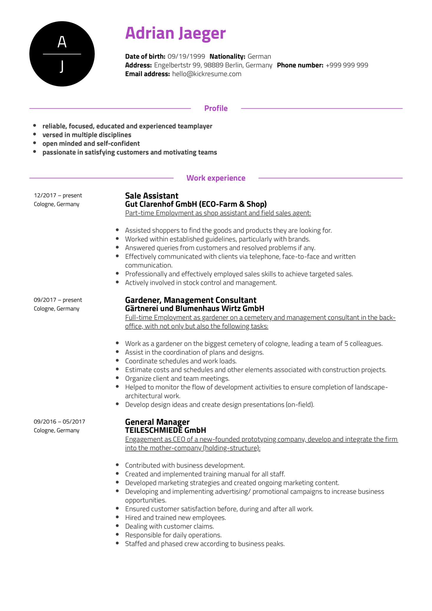 Customer Support Specialist Resume Example (Teil 1)