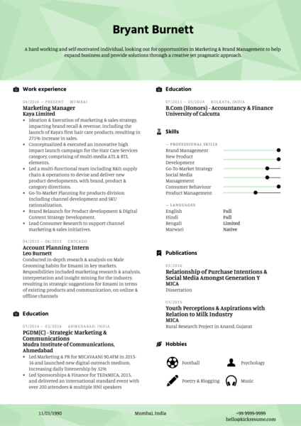 Marketing and Brand Manager Resume Example
