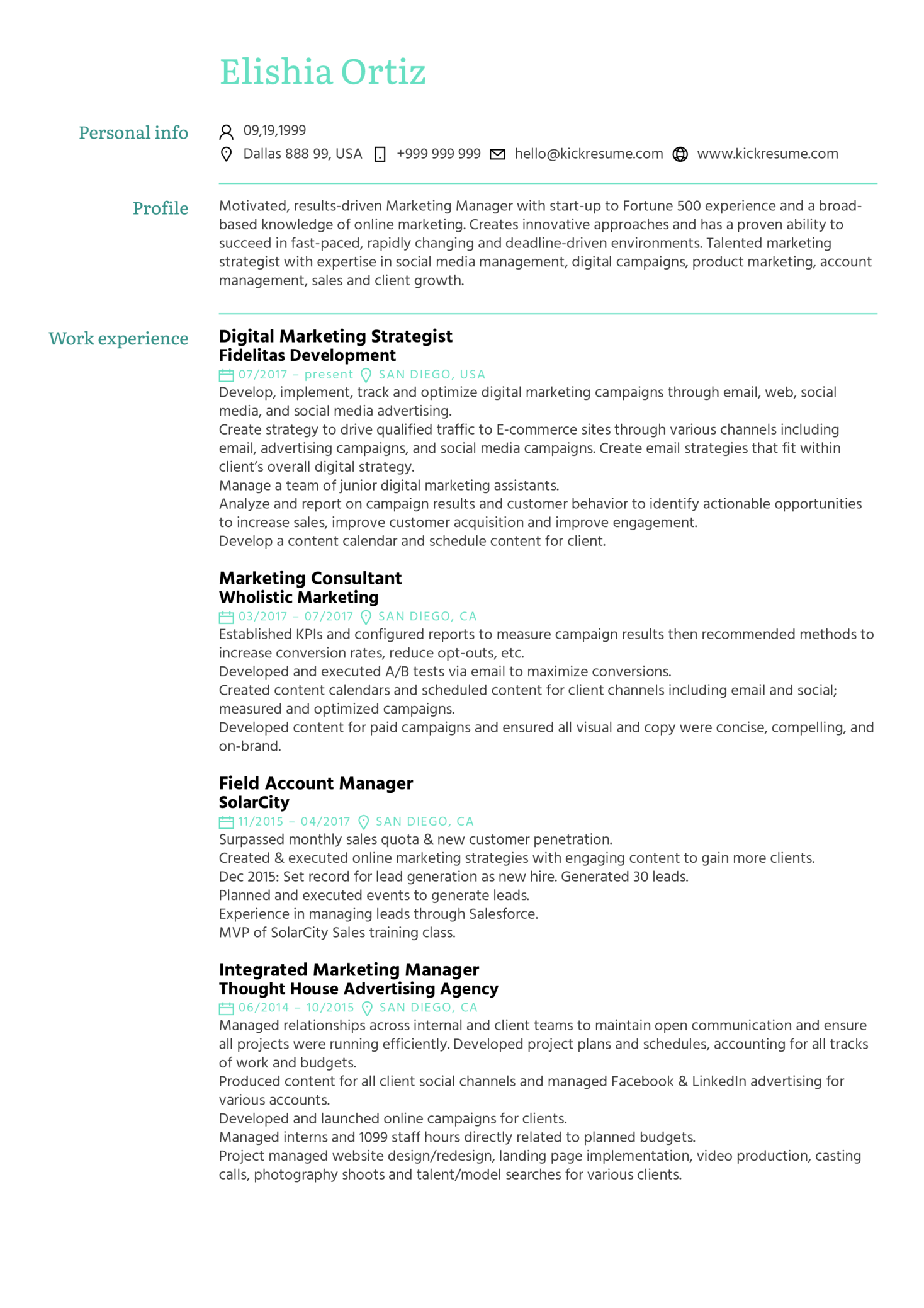 Marketing Strategist Resume Example (Part 1)