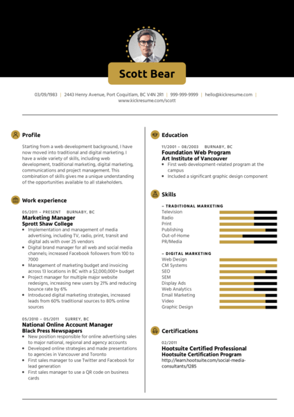 Marketing Manager, Account Manager Resume Sample