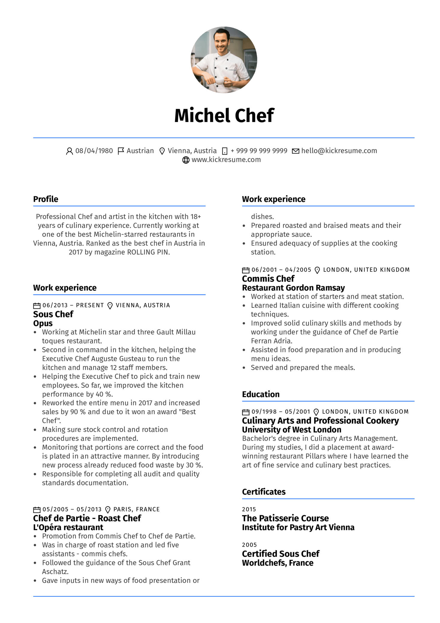 Resume Examples by Real People: Sous Chef Resume Example | Kickresume