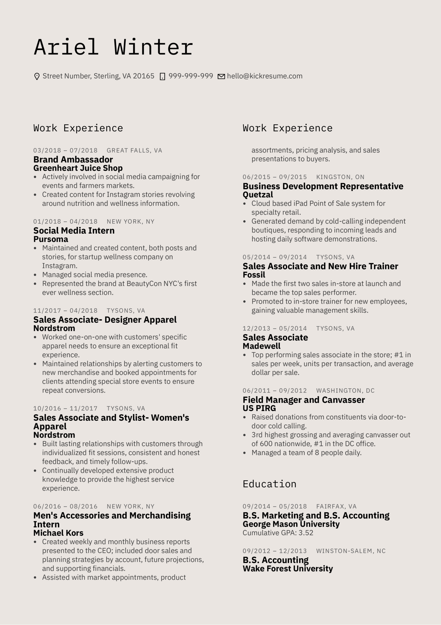 YELP Account Executive Resume Sample (Part 1)