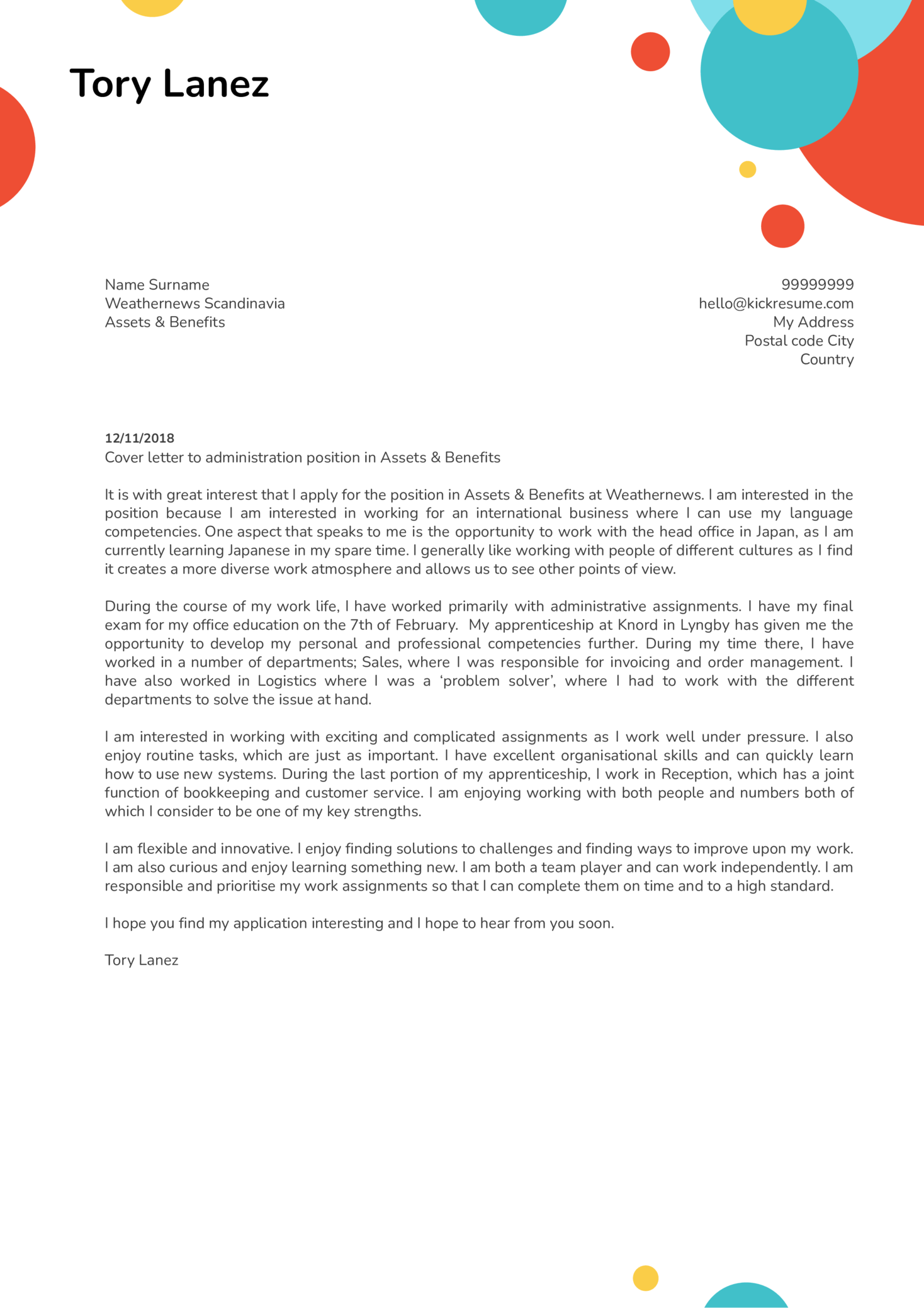 cover letter examples by real people  office assistant
