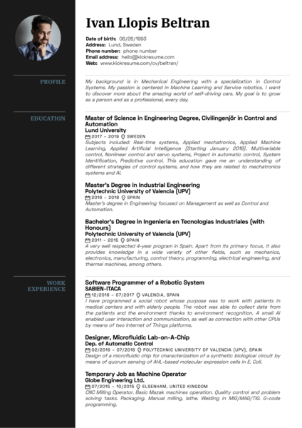 Volvo mechanical engineer internship resume sample