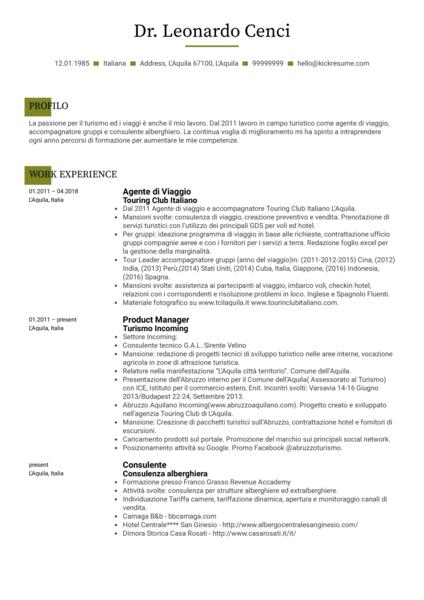 Sales Specialist Resume Example [italian]