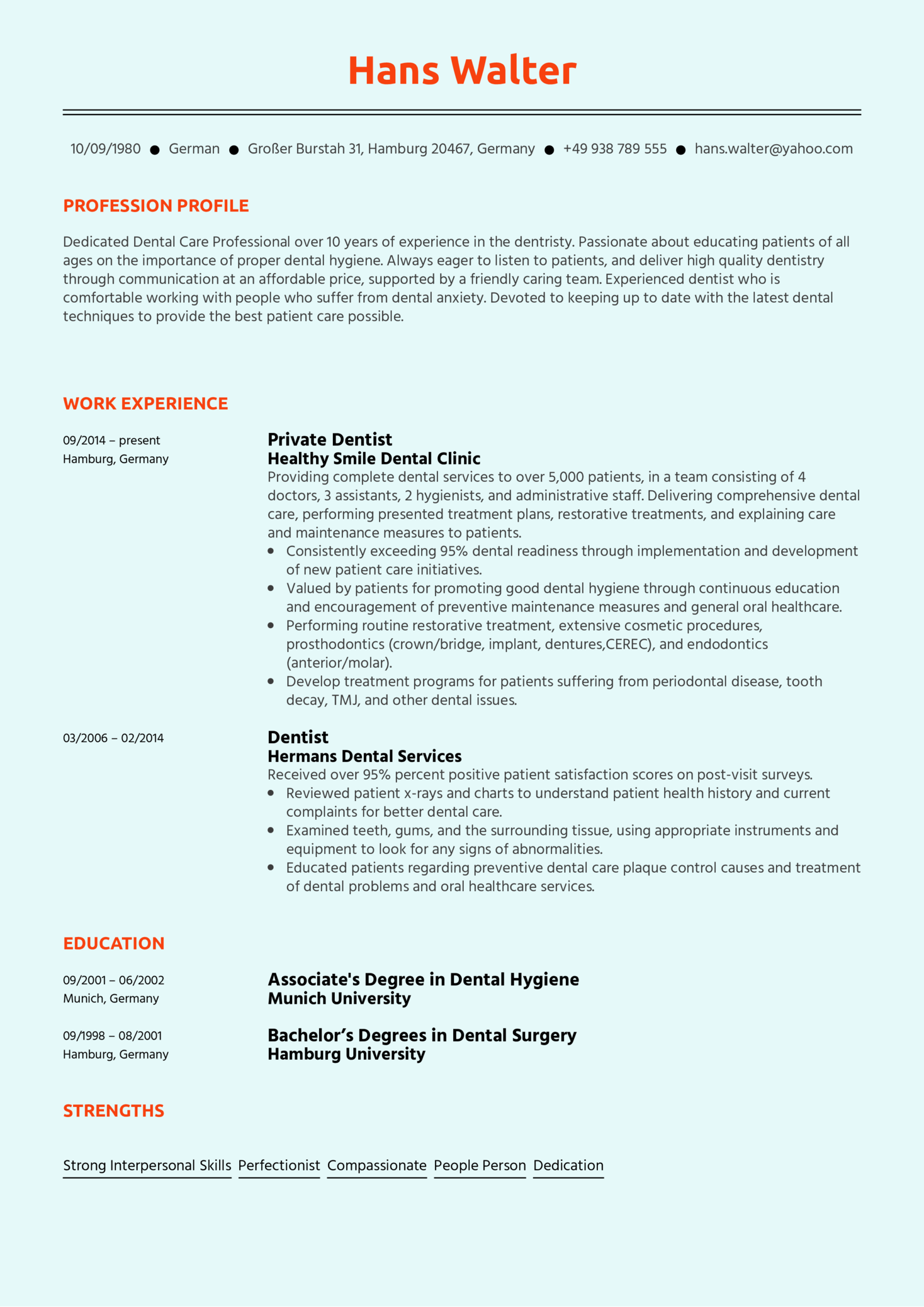 Dentist Resume Sample