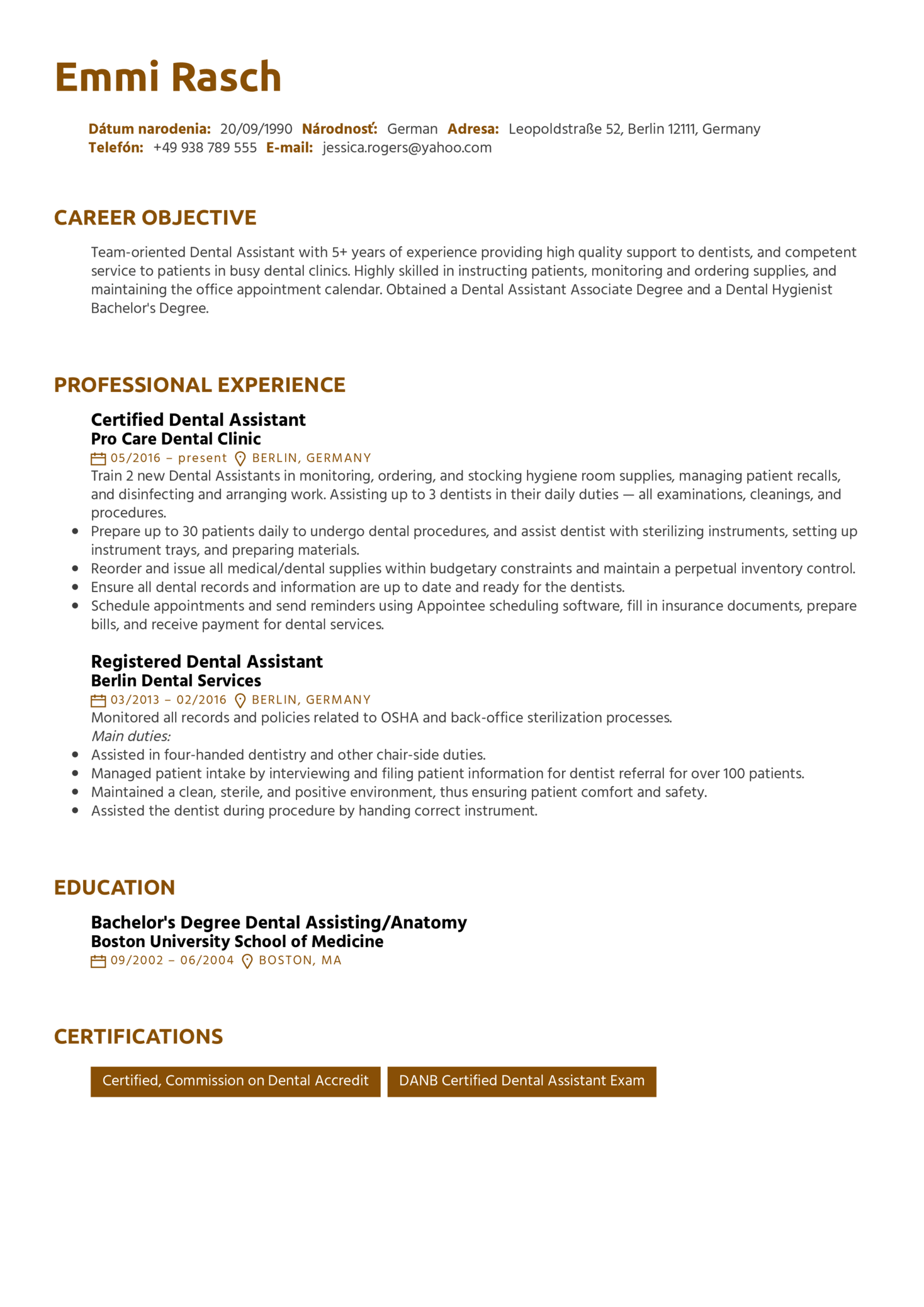 resume examples by real people  dental assistant resume