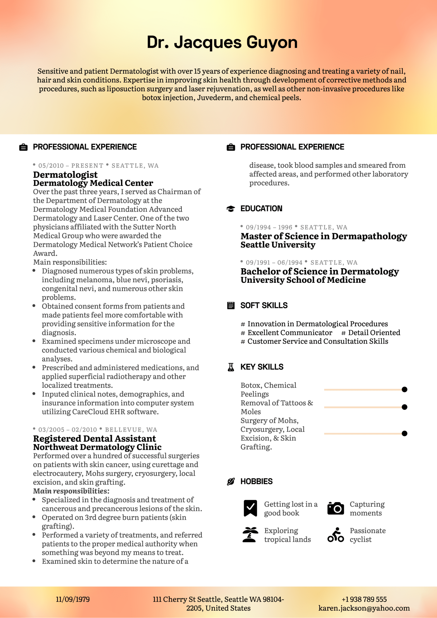 resume examples by real people  dermatologist resume
