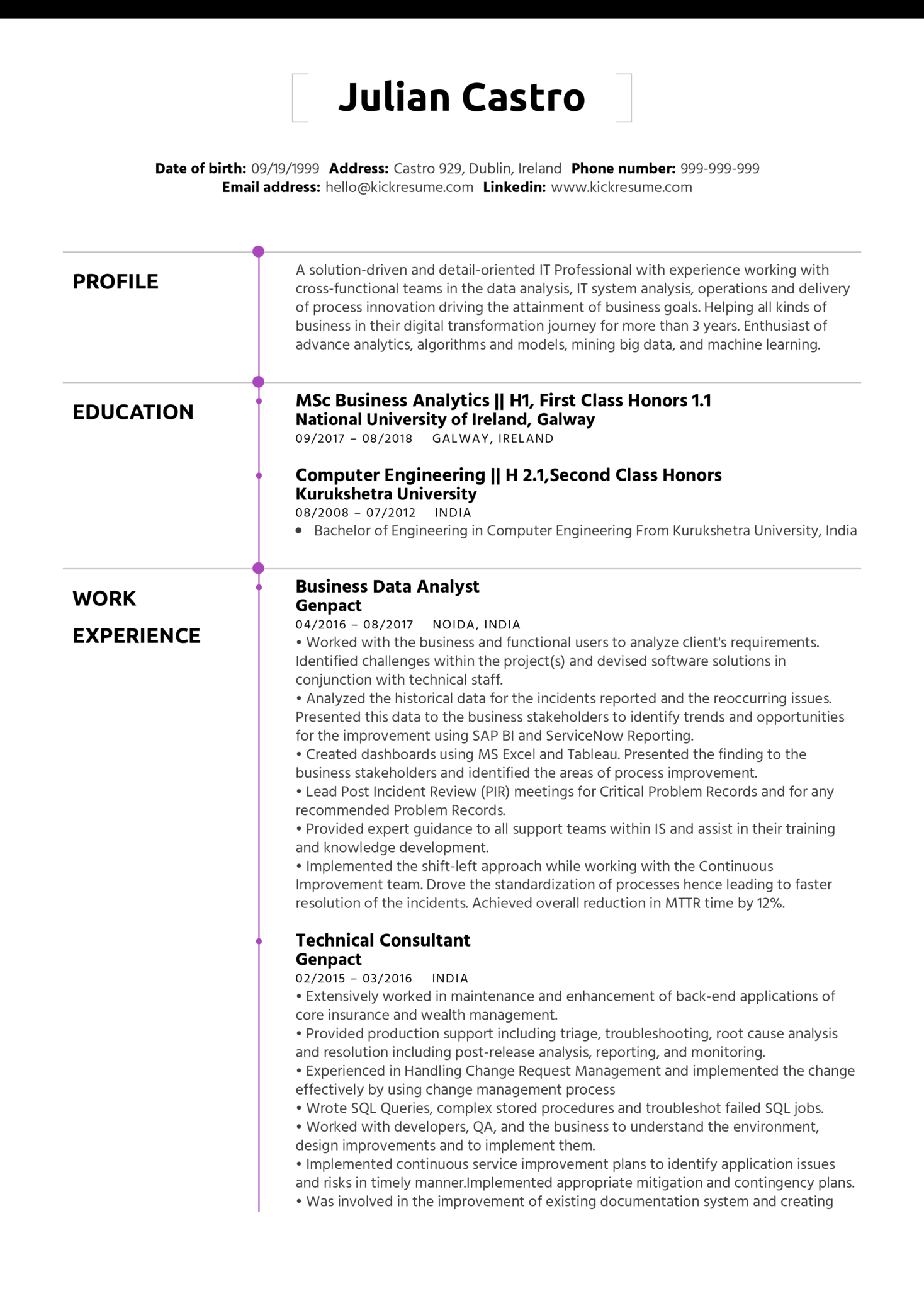 Business Process Analyst CV Sample