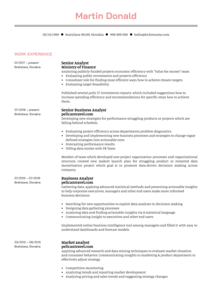 Senior Business Analyst Resume Example