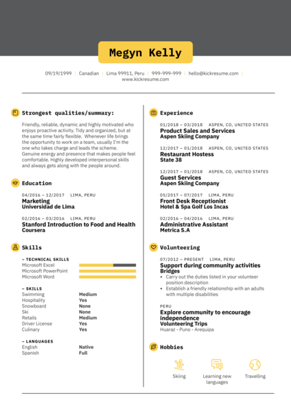 Front Desk Receptionist CV Sample