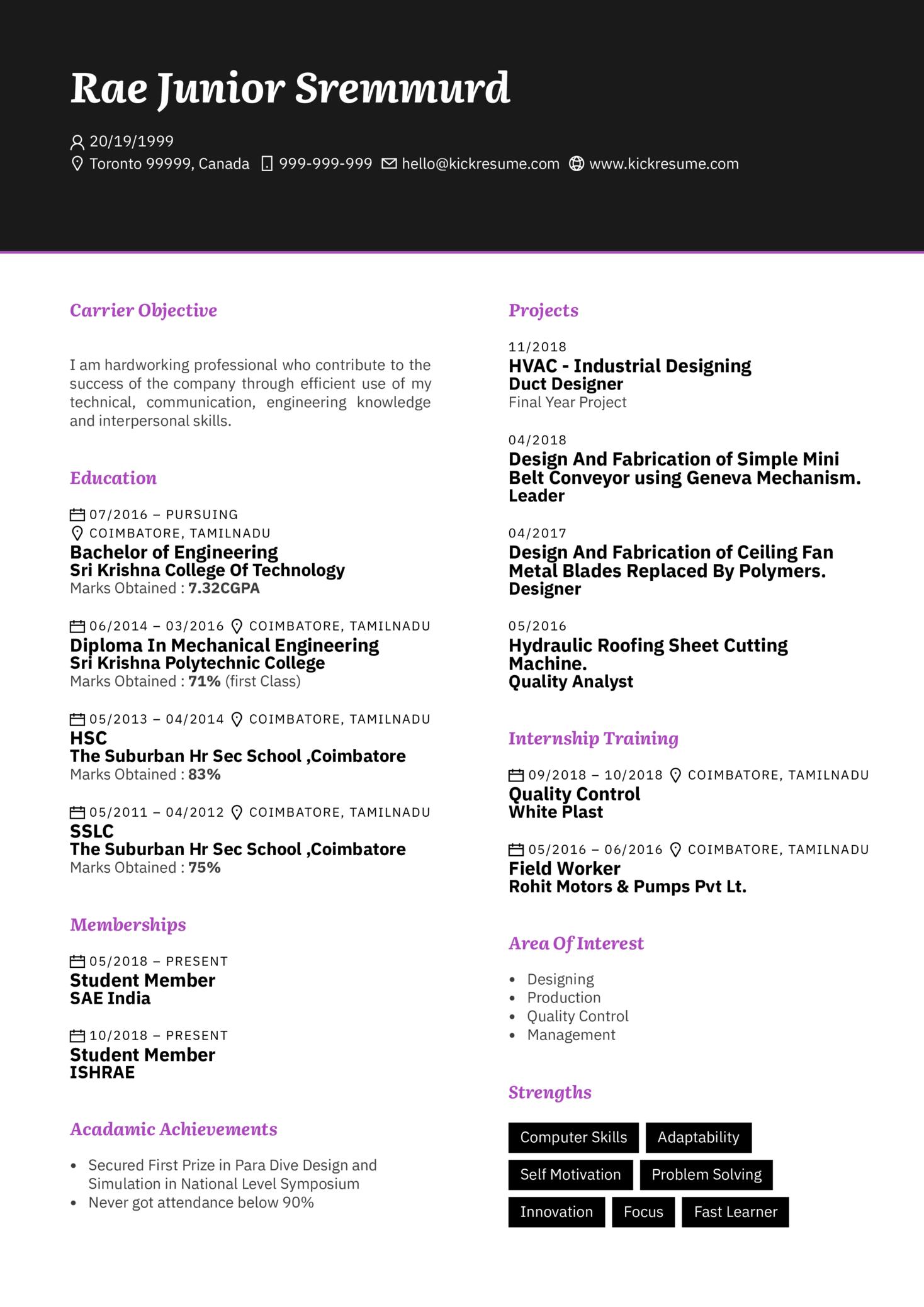 System Design Engineer CV Sample (časť 1)