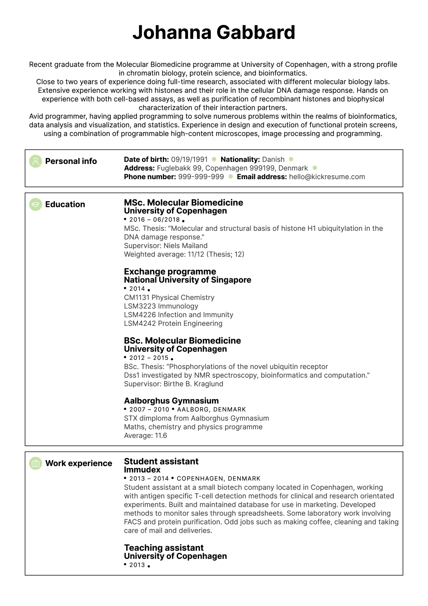 University Biomedical Researcher Resume Sample (Parte 1)