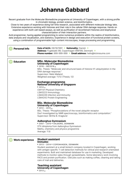 University Biomedical Researcher Resume sample