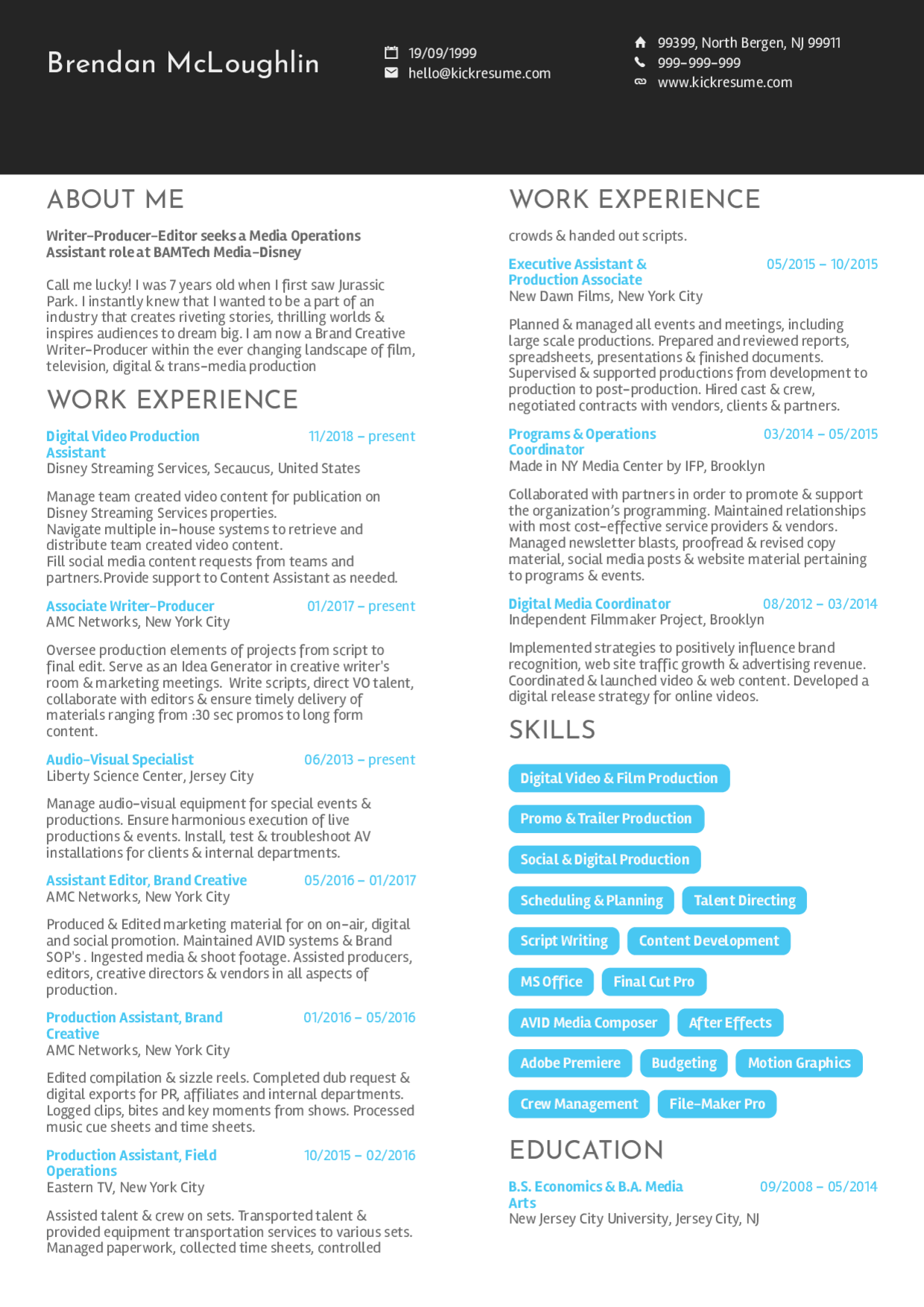 Video Production Assistant CV sample