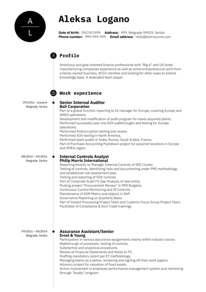 Senior Internal Auditor CV Sample