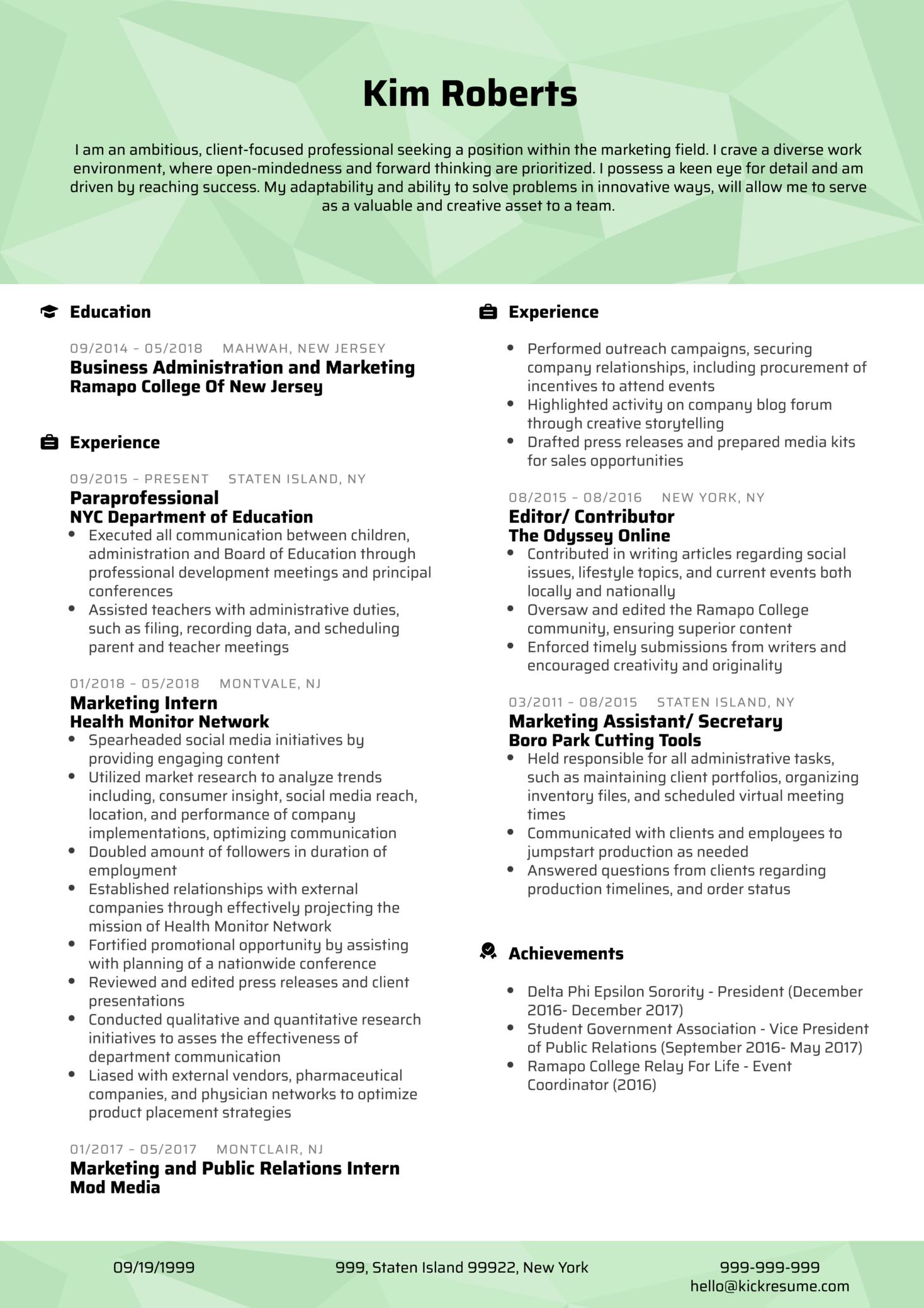 Professional Project Coordinator CV Sample (Teil 1)