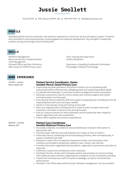 Patient Service Coordinator Resume Sample