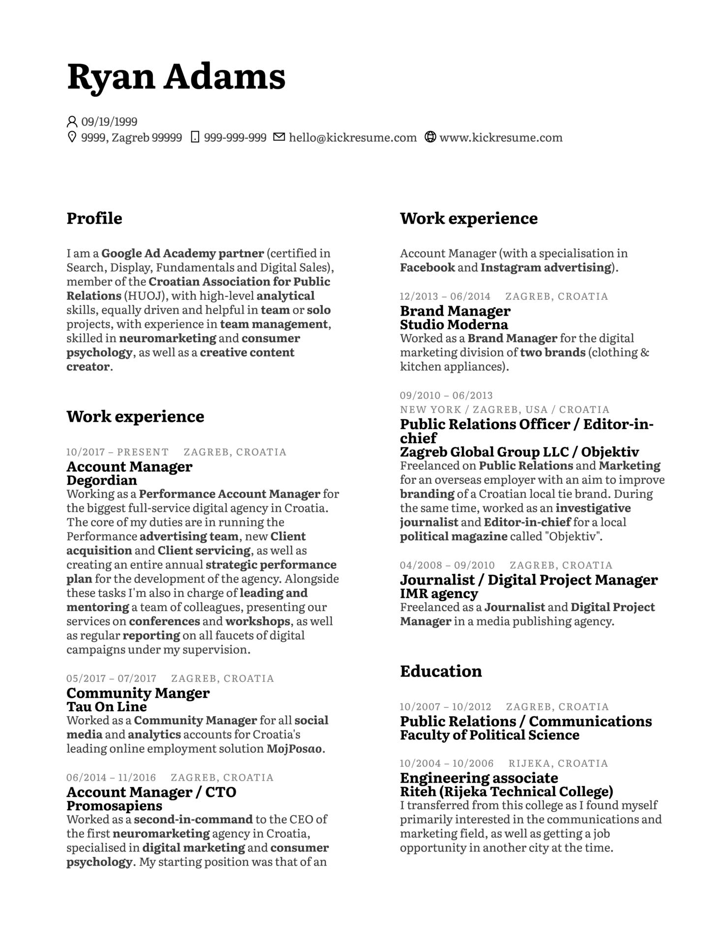 Senior Marketing Analyst CV Example (Parte 1)