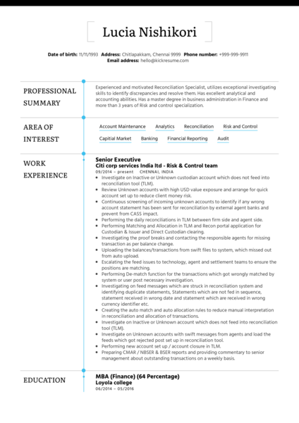 BNP Paribas Senior Officer CV Example