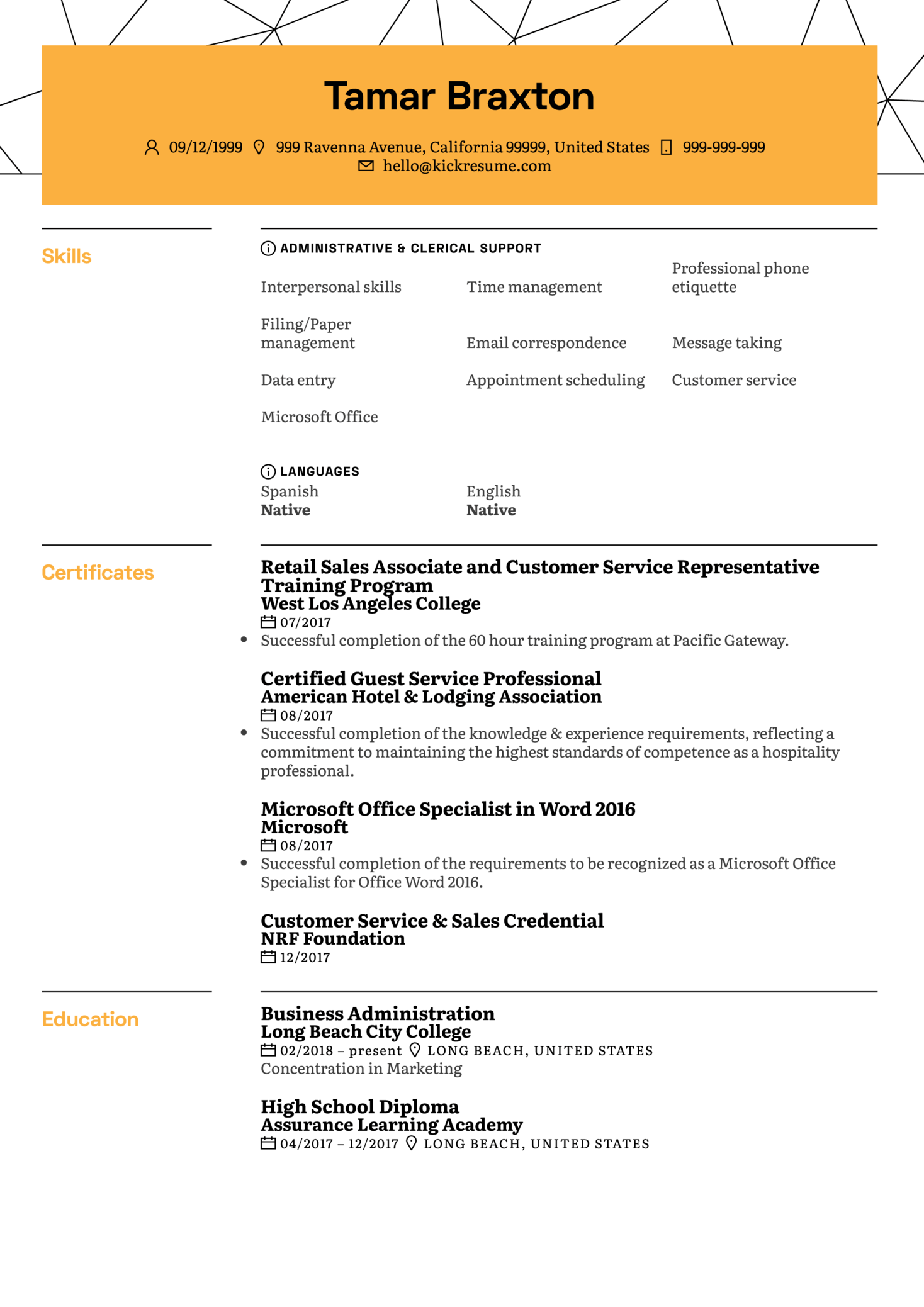 resume examples by real people  student office assistant cv example