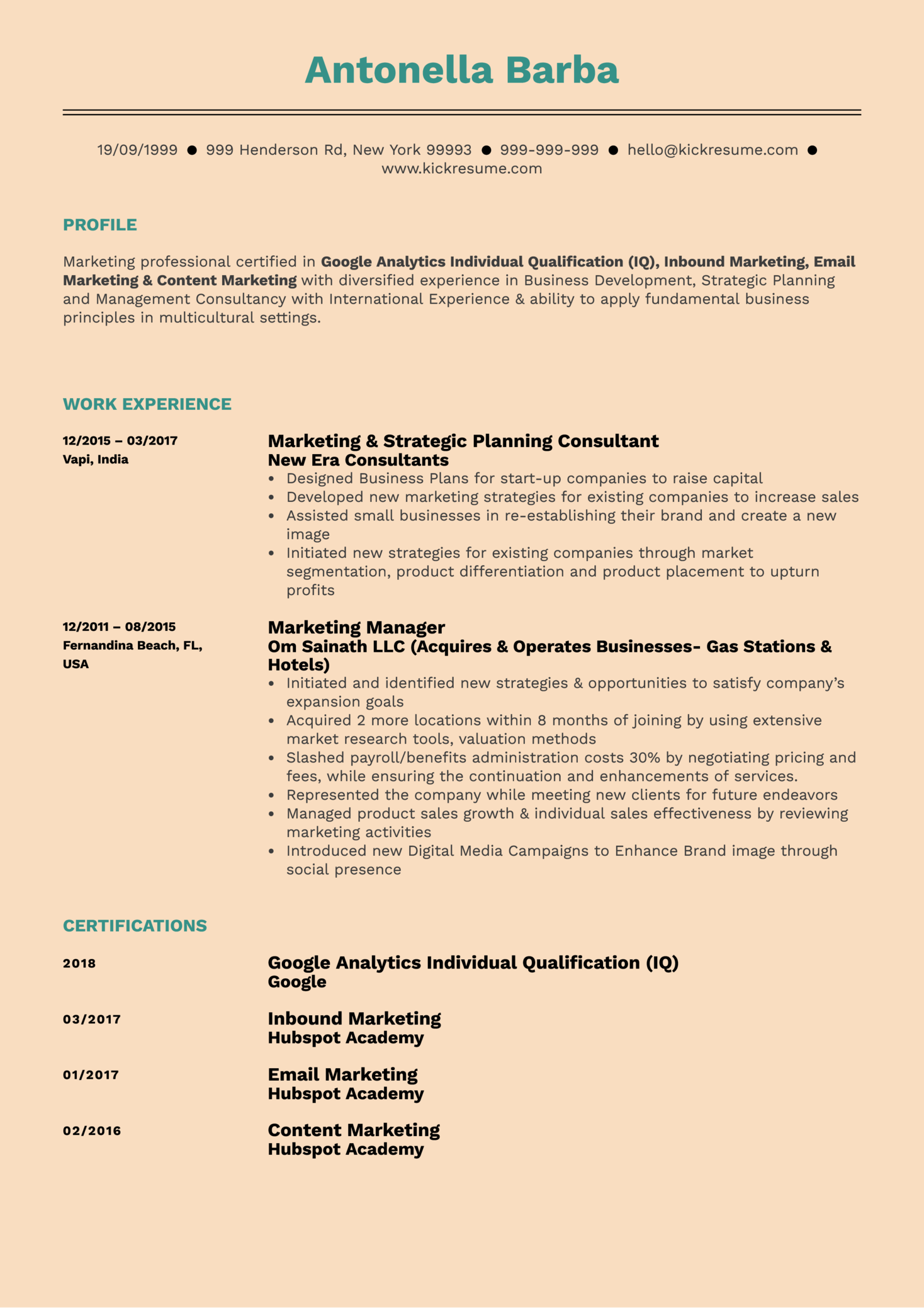 Brand Marketing Manager Resume Example (Parte 1)