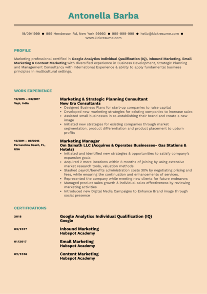 Brand Marketing Manager Resume Example