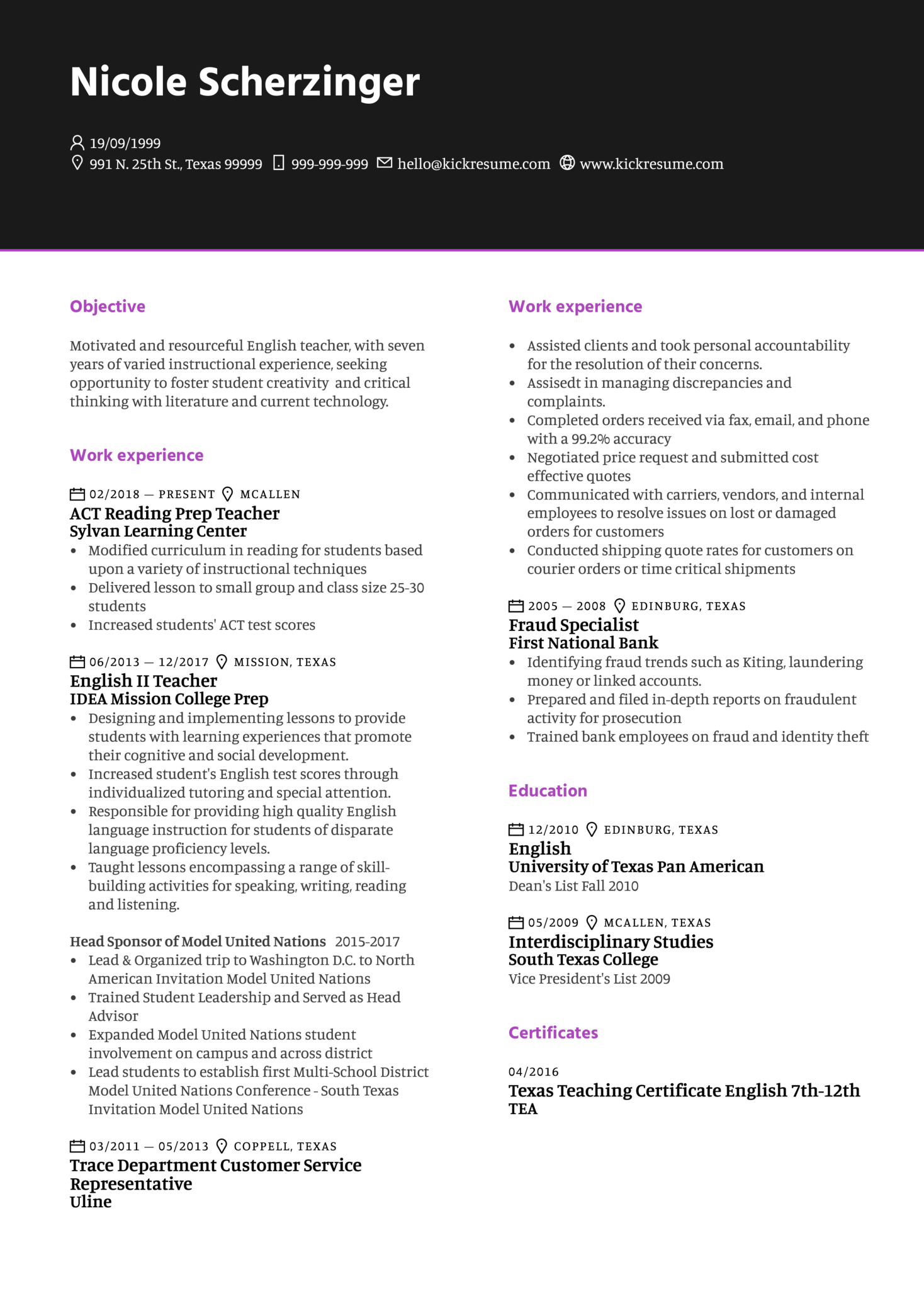 Resume Examples By Real People English Teacher Resume