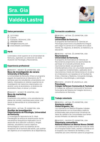 Becario de investigación verano en la Universidad currículum [ES]
