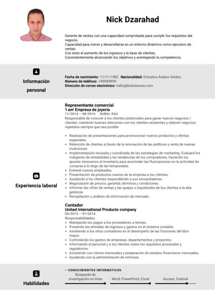 Representante de ventas en Adidas currículum ejemplo [ES]