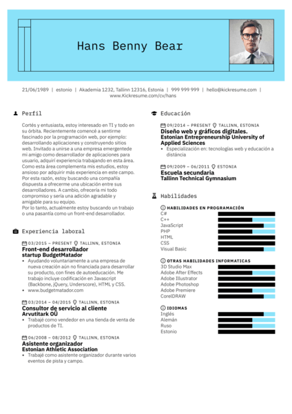 Front-end web desarrollador currículum ejemplo [ES]