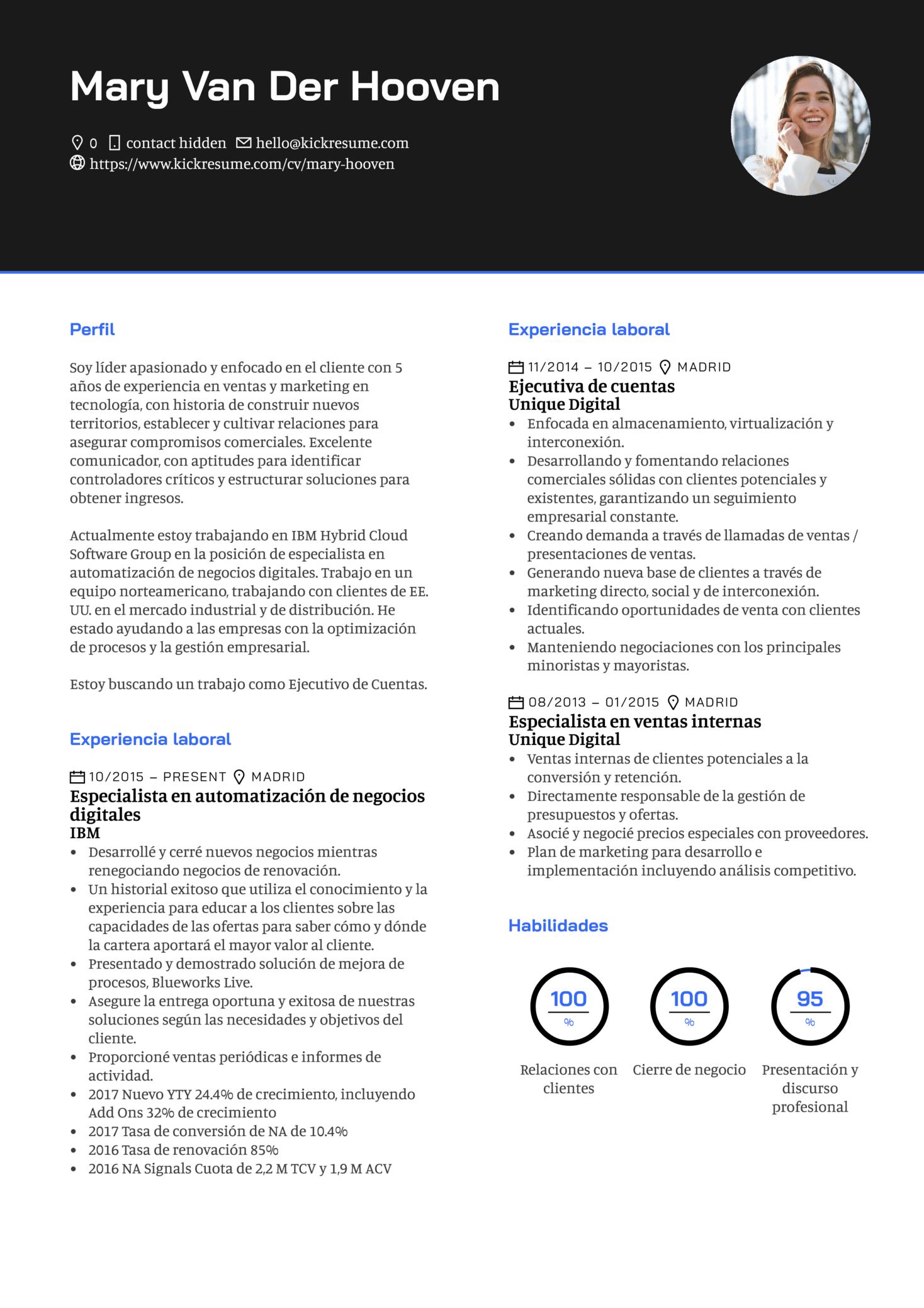 Ejecutivo de cuenta en Google currículum ejemplo [ES]