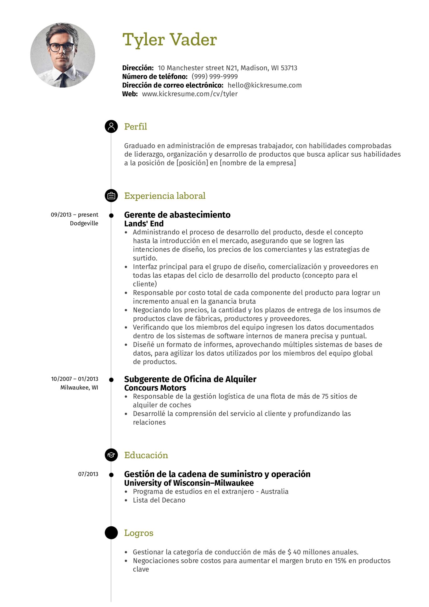 Gerente de administración currículum ejemplo [ES] (Part 1)