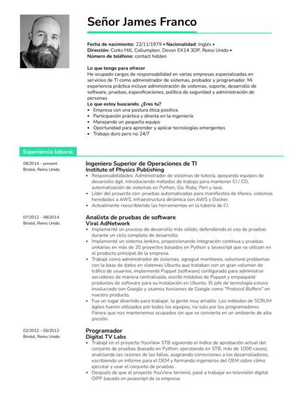 Ingeniero superior de operaciones de TI currículum ejemplo [ES]