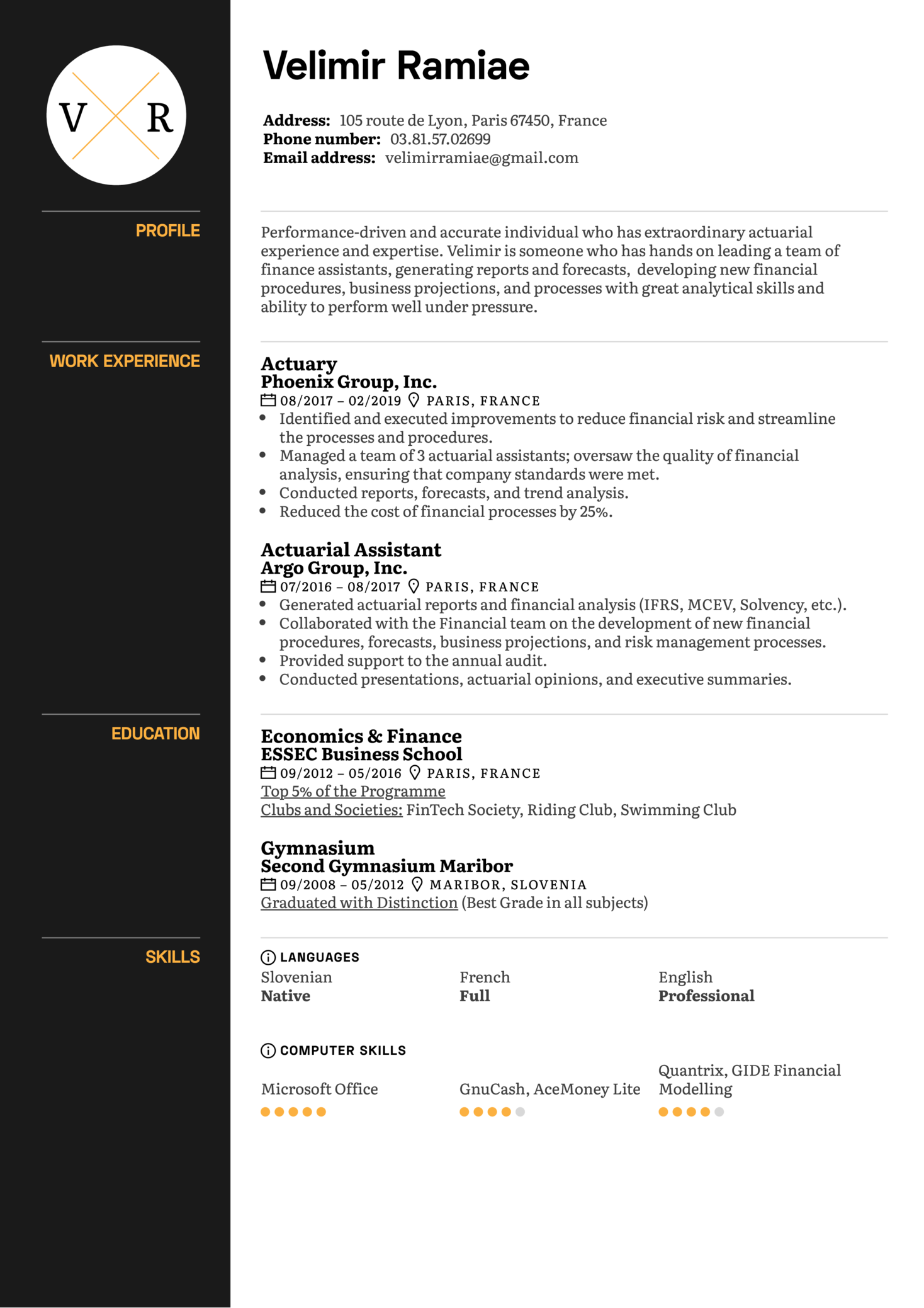 Resume Examples By Real People Actuary Resume Example