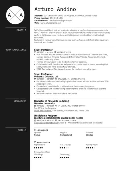 Stunt Performer Resume Example