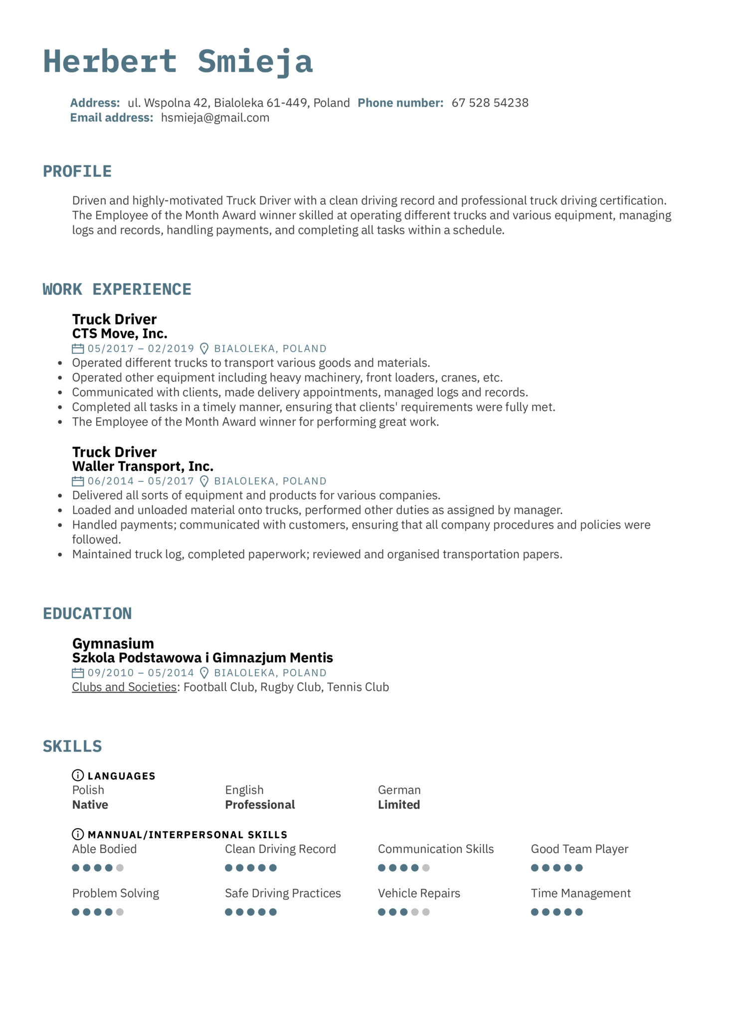 resume examples by real people  truck driver resume