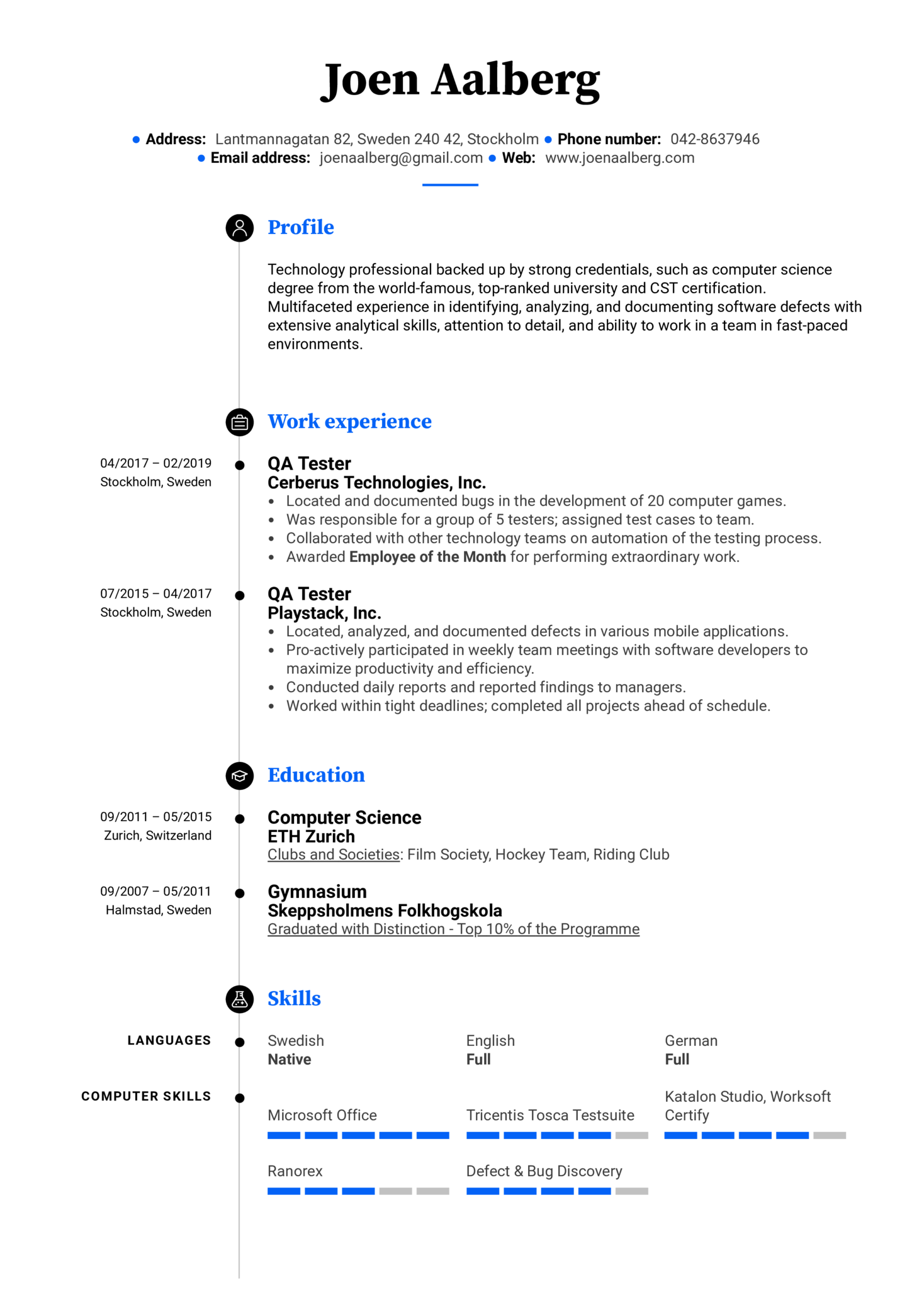 qa tester resume example