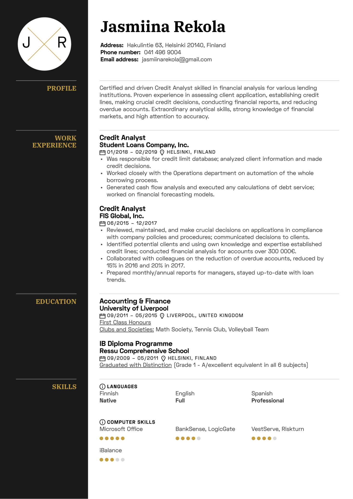 resume examples by real people  credit analyst resume