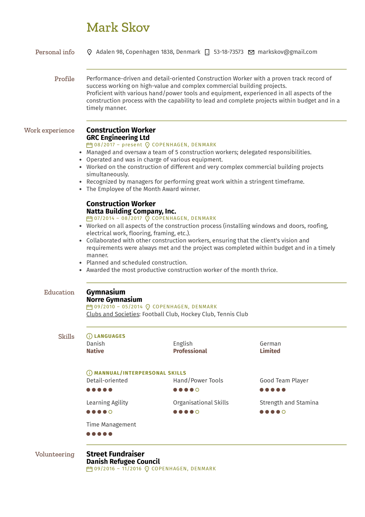 Construction Worker Resume Example Kickresume