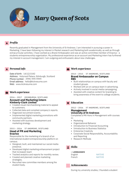 Graduate Account Manager Resume Sample