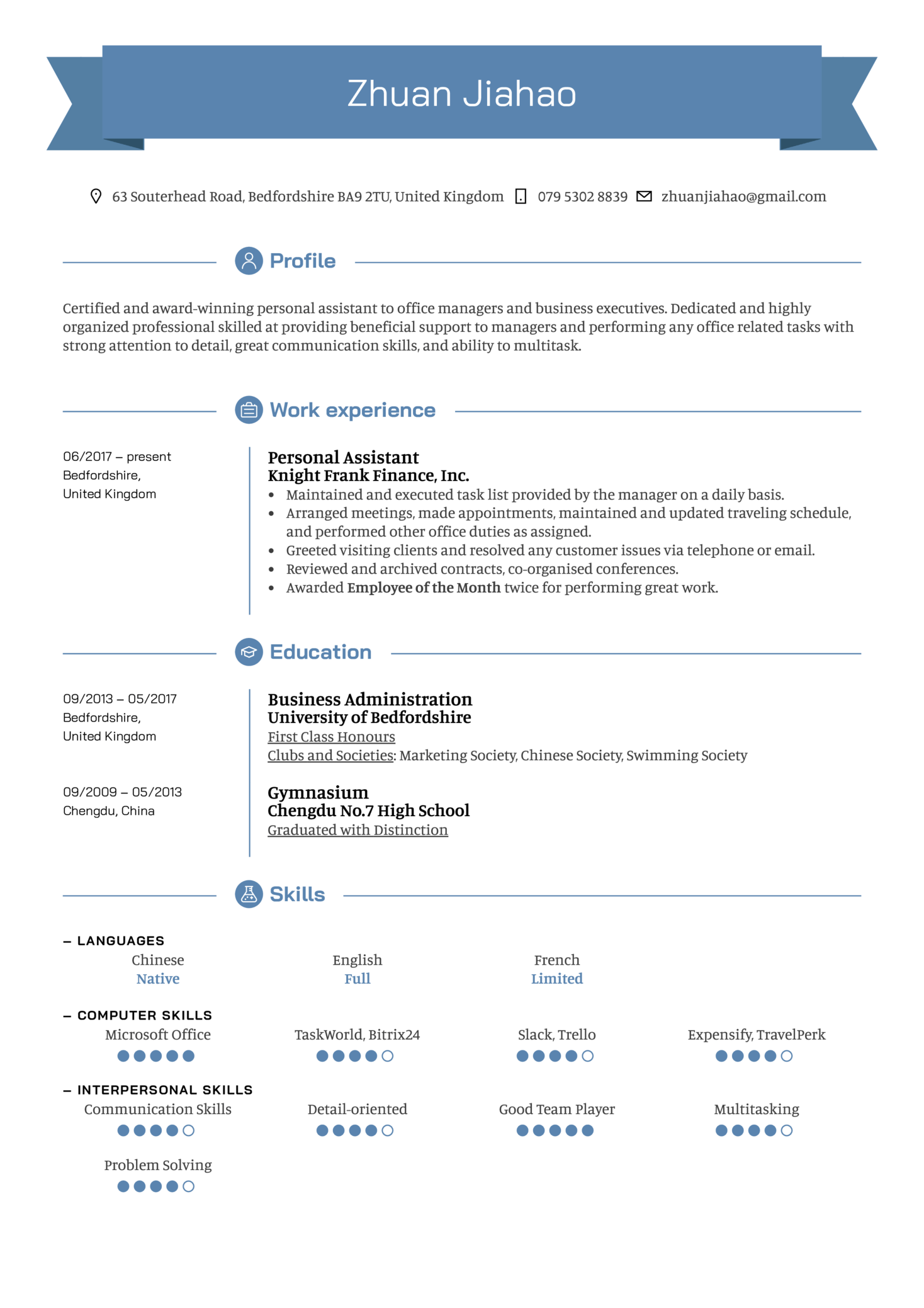 Personal Assistant Resume Example (parte 1)