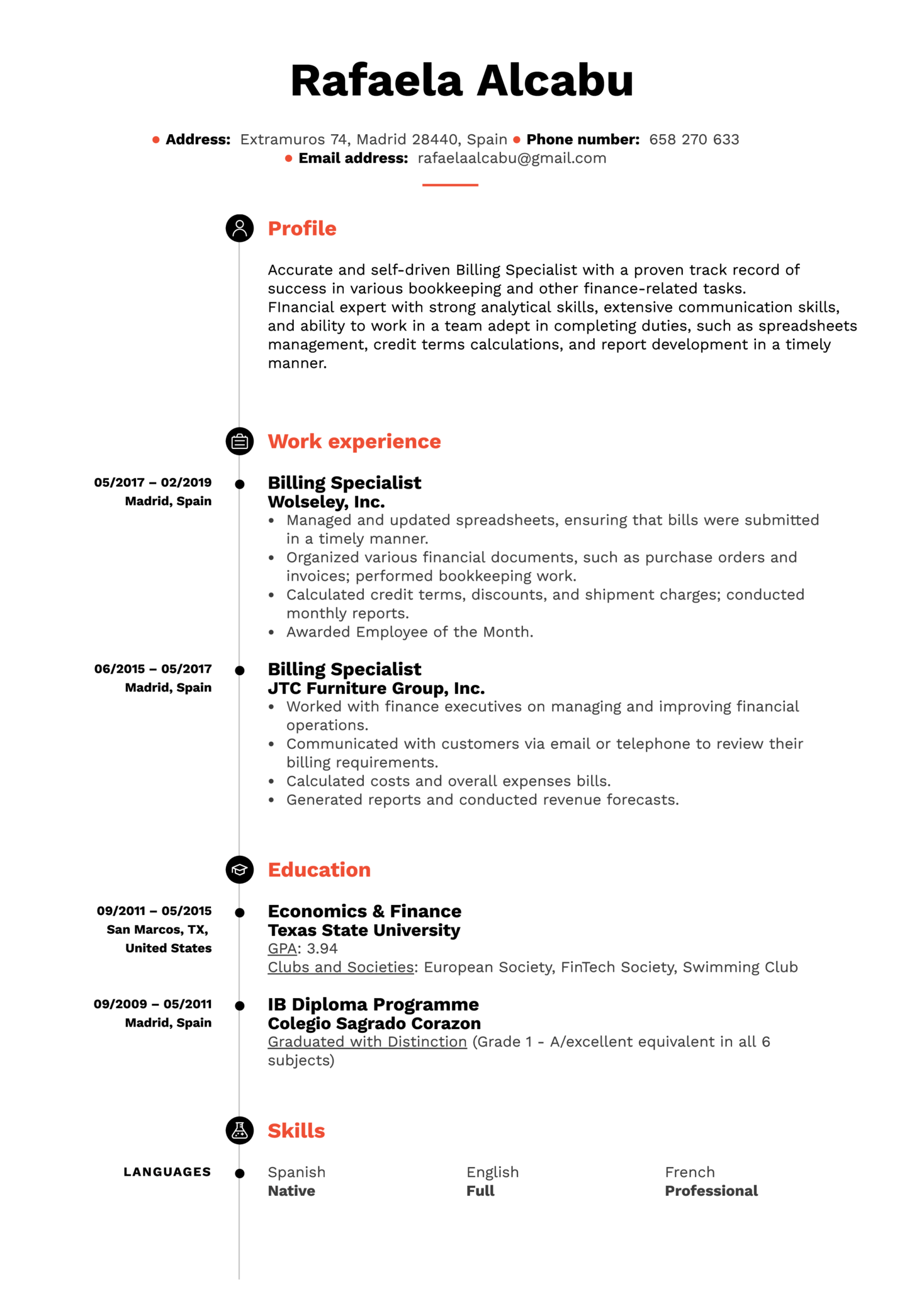 resume examples by real people  billing specialist resume