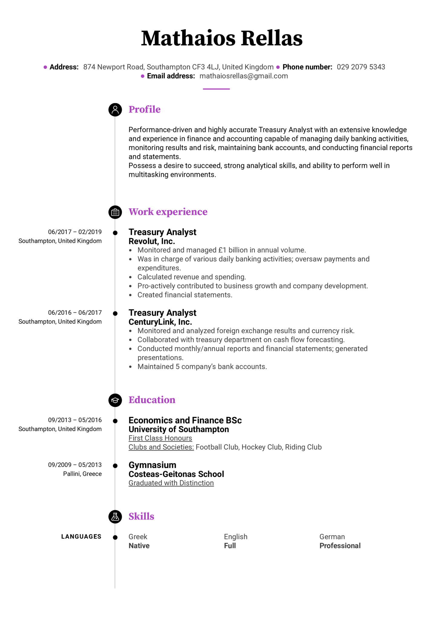 Treasury Analyst Resume Example