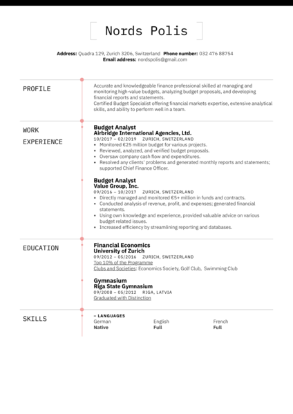 Budget Analyst Resume Example