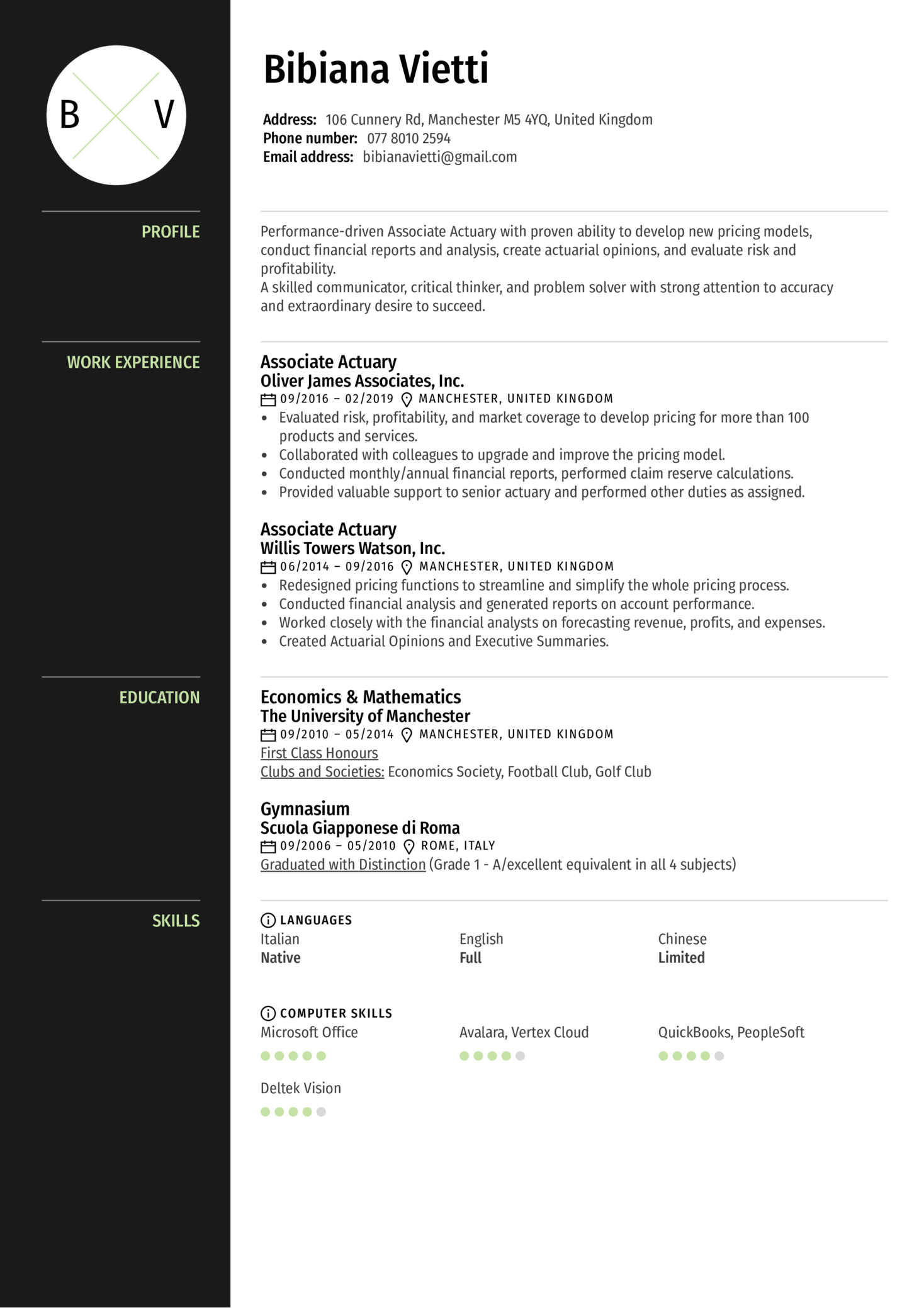 resume examples by real people  associate actuary resume