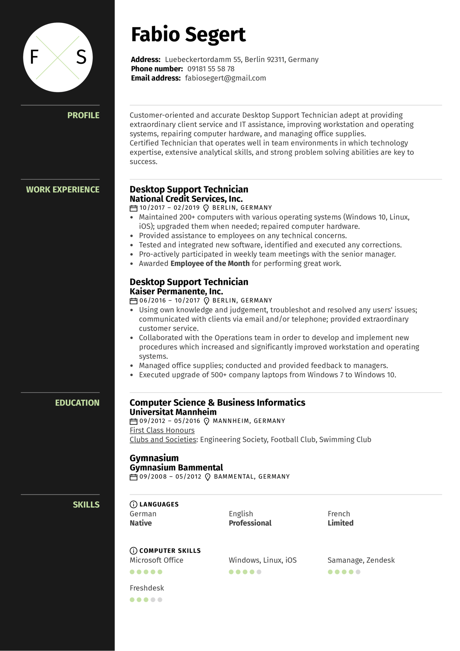 resume examples by real people  desktop support technician