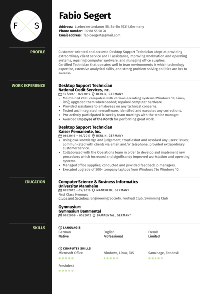 Desktop Support Technician Resume Example