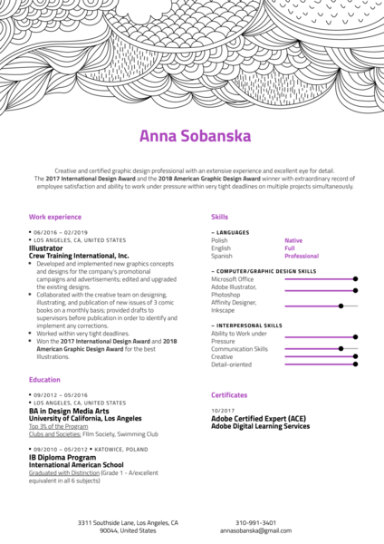 Illustrator Resume Example