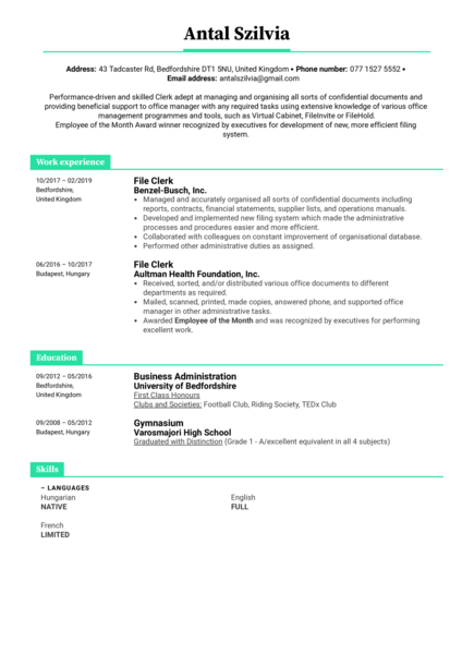 File Clerk Resume Example